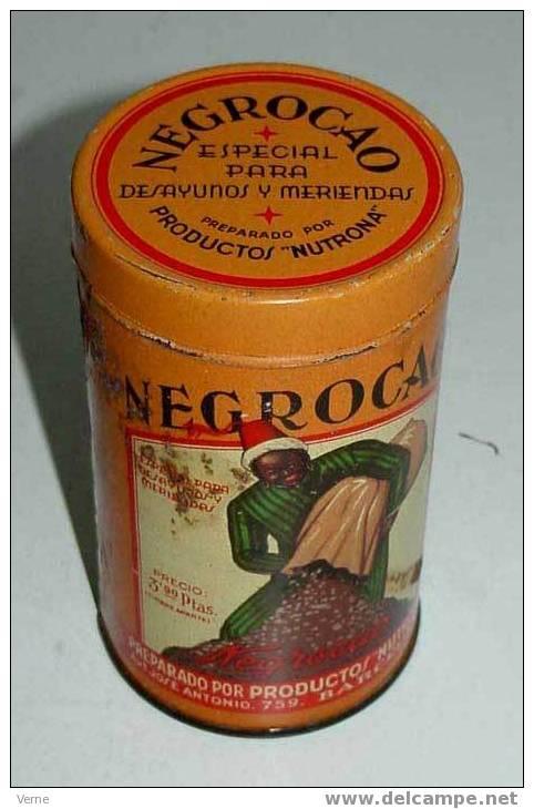 ANTIGUO BOTE DE HOJALATA LITOGRAFIADA DE G. DE ANDREIS DE BADALONA CON PUBLICIDAD DE NEGROCAO - EL ANTECEDENTE DEL COLAC - Chocolate