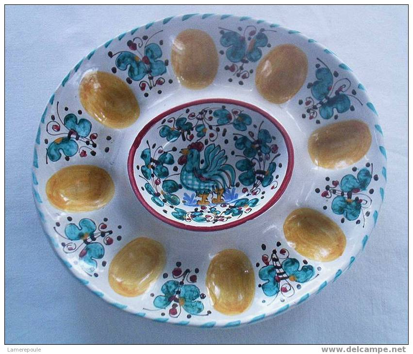 DERUTA - Deviled Egg Plate - Assiette Coq Aux Oeufs - Haan Hahn Gallo - Deruta (ITA)