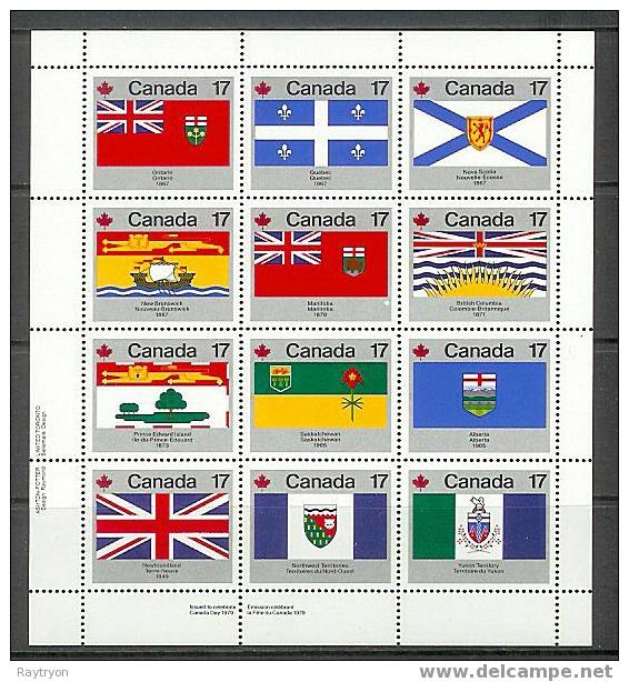 Canada 1979 Sc # Bf 821 / 832 MNH ** Flags Of Canada - Stamps