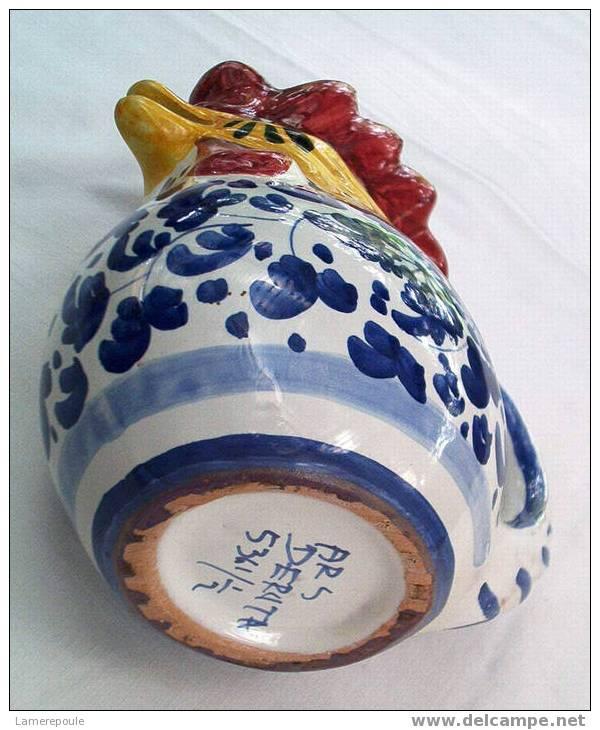 DERUTA Arabesco Blu° - Pichet Coq - Rooster Pitcher - Haan Karaf - Hahn Krug (02) - Deruta (ITA)