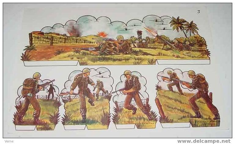 ANTIGUO RECORTABLE MILITARES - ESCENAS DE GUERRA Nº 3 - MIDE 34 X 24 CMS. PAPER SOLDIER - Militares
