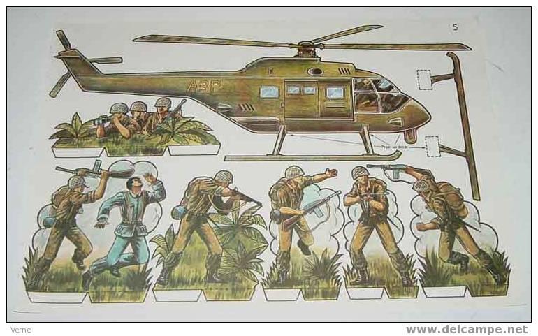 ANTIGUO RECORTABLE MILITARES - ESCENAS DE GUERRA Nº 5 - MIDE 34 X 24 CMS. PAPER SOLDIER - Militares
