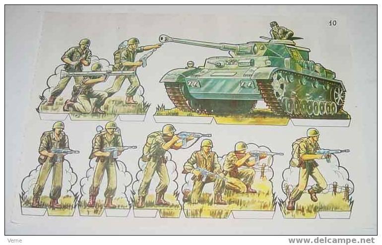 ANTIGUO RECORTABLE MILITARES - ESCENAS DE GUERRA Nº 10 - MIDE 34 X 24 CMS. PAPER SOLDIER - Militares
