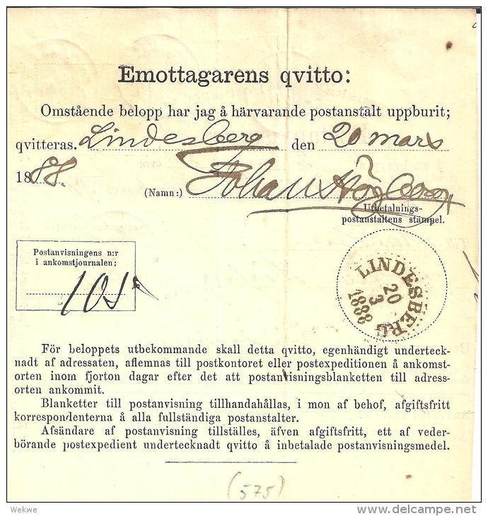 SCHWEDEN XX001 – Frankierte Postanweisung 1888, Aus Elmhult - Schweden