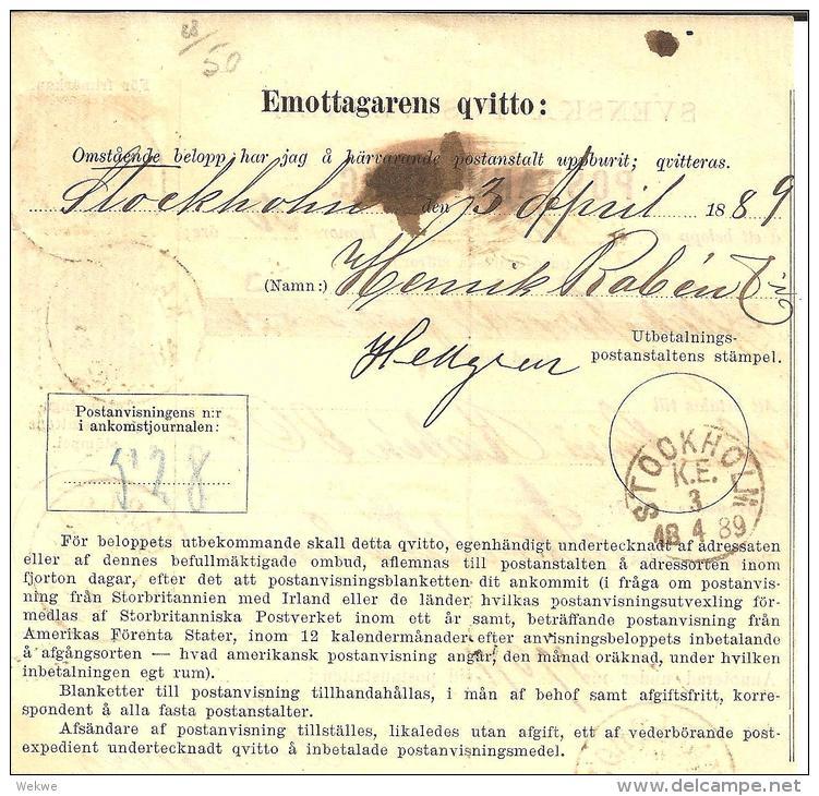 SCHWEDEN  002 / – Frankierte Postanweisung 1889, Karlsborg - Schweden