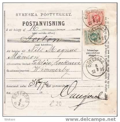 SCHWEDEN  XX003 / – Frankierte Postanweisung 1891, Goteborg - Schweden