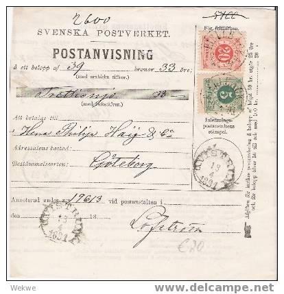SCHWEDEN XX004 /  – Frankierte Postanweisung 1891, Nach Goteborg - Schweden