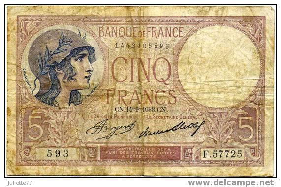 Billets - 5 FRANCS VIOLET (CN 14/09/1933 CN), 593 - F57725 - 5 F 1917-1940 ''Violet''