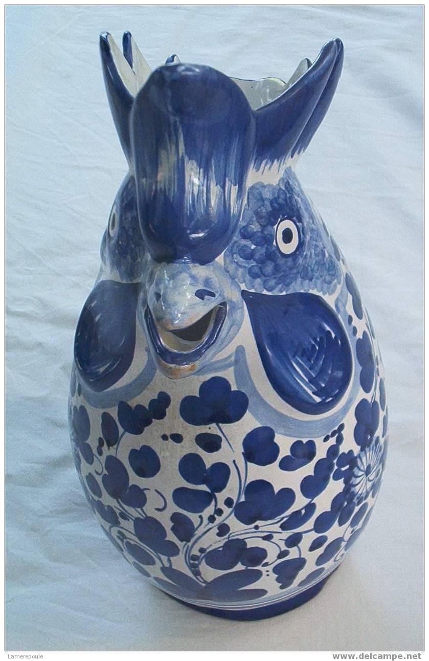 DERUTA Arabesco Blu° - Pichet Coq - Rooster Pitcher - Haan Karaf - Hahn Krug (42) - Deruta (ITA)