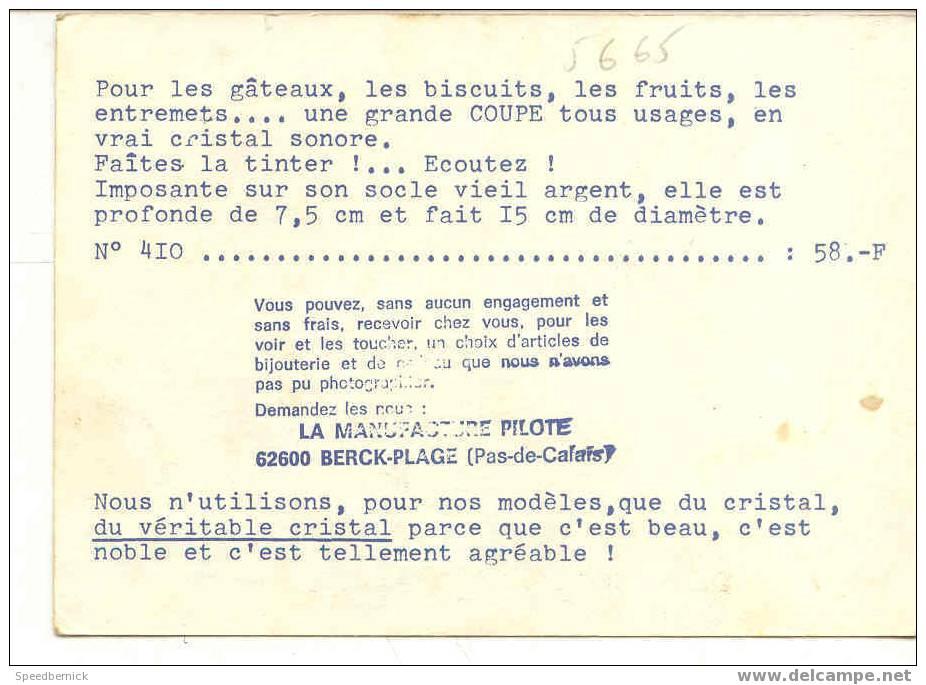5665 La Manufacture Pilote Berck Plage . Coupe De Cristal 58f N°410 - Berck