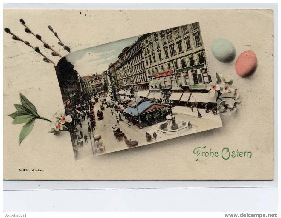 WIEN , Graben   FROHE OSTERN  VIENNE Timbrée  07.04.1912 - Vienna
