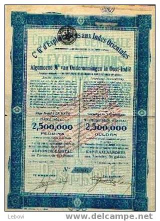 """LA HAYE """"Cie Générale D´exploitations Aux Indes Orientales"""" - Action De Capital - Action De Capital (2.500.000 Florins) - Asie"""