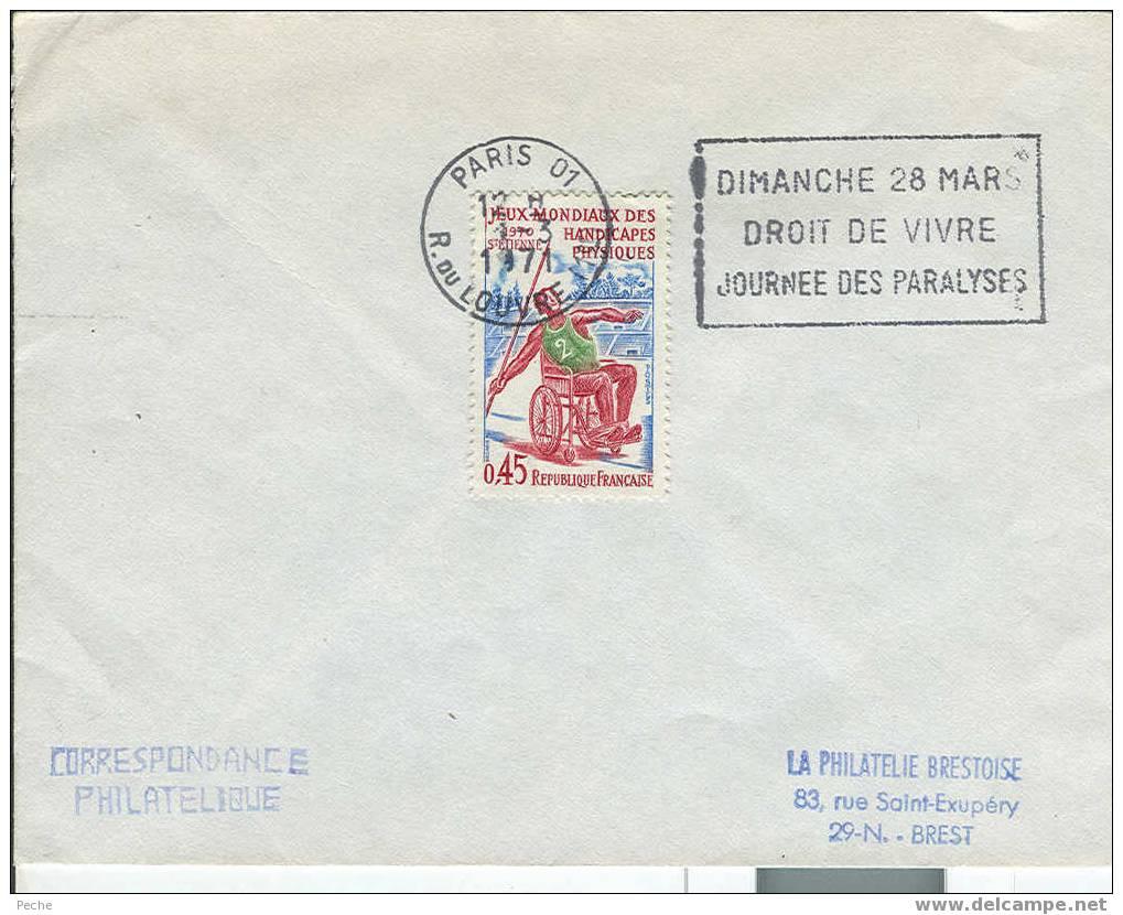 Pli France 1971 Journée Des Paralysés - Handisport