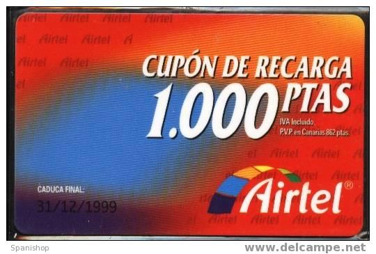 Airtel ACR-001 Cupon De Recarga 1000 Ptas. 31/12/1999. Reverso 907 - Spain