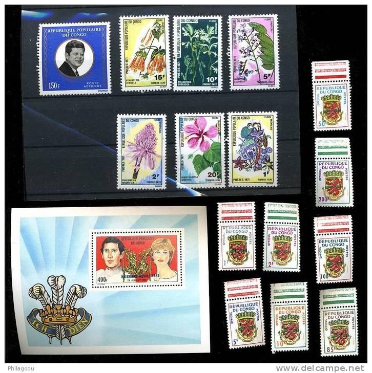 Congo 1991-72 ++  Kennedy, Mariage De Lady Di Et Charles, Armoiries, Fleurs - Congo - Brazzaville