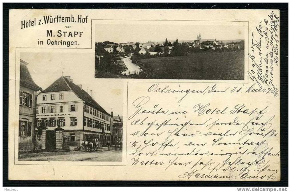 1896 - Hôtel Z. Württemb. Hof Von M. STAPF - Litho - Oehringen