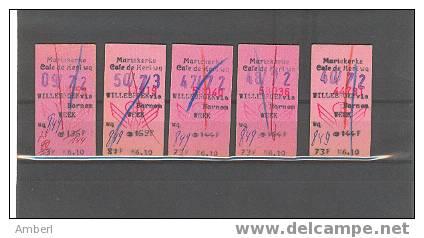 Spoorwegen Mariekerke 5 Coupons Treintickets Café De Hert Wg Willebroek Via Bornem 1972 - Europa