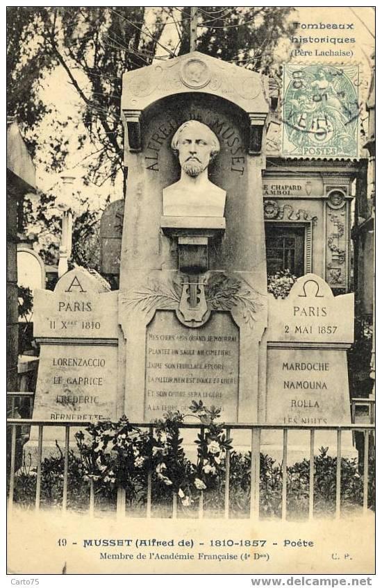 PARIS 75 - Cimetière Père LACHAISE - MONUMENT ALFRED De MUSSET Ecrivain - Monuments