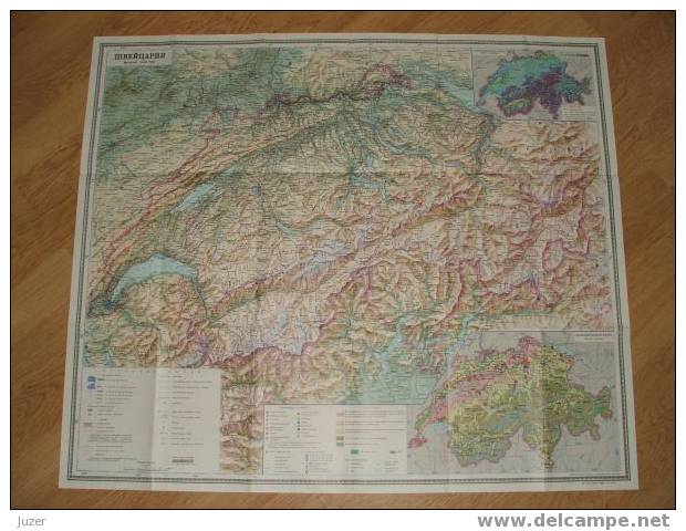 Map Of Switzerland (2) (1988) - Geographical Maps