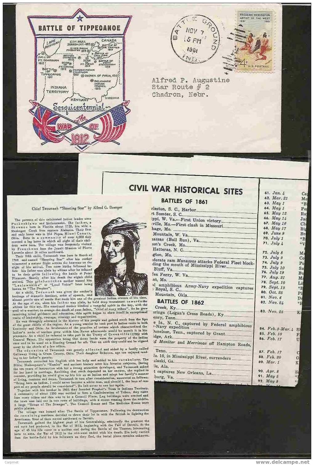 US - 150th ANNIV BATTLE OF TIPPECANOE - 1812 WAR  COMM  CACHETED COVER W/ Cards Battle Explanation - American Indians
