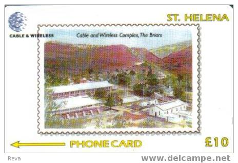 ST HELENA 10 L STAMP  C & W BUILDING  LANDSCAPE CODE:327CSHB  STH-33 1200 ONLY !! - St. Helena Island