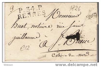 Fp013 / FRANKREICH -  Rennes 1826, P.34.P. - 1801-1848: Precursori XIX