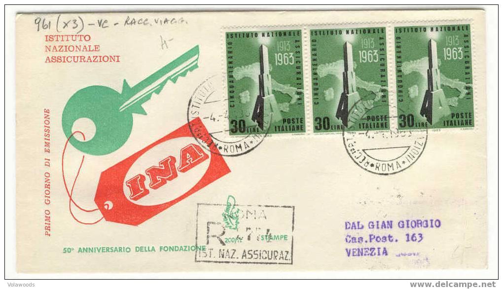 Italia - Busta Fdc Con Serie Completa: Cinquantenario Dell'Istituto Nazionale Assicurazioni - 6. 1946-.. Republic