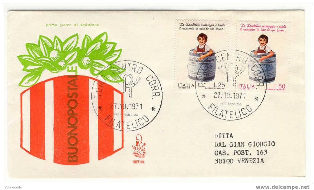 Italia - Busta Fdc Con Serie Completa: Risparmio Postale - 6. 1946-.. Republic
