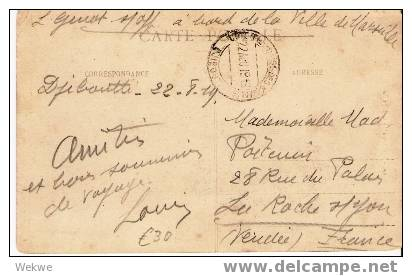 Faf060/  FRANZ. SOMALIA - 1919 – Unfrankierte Ansichtskarte Von Seemann An Bord Eines Schiffes - Cartas