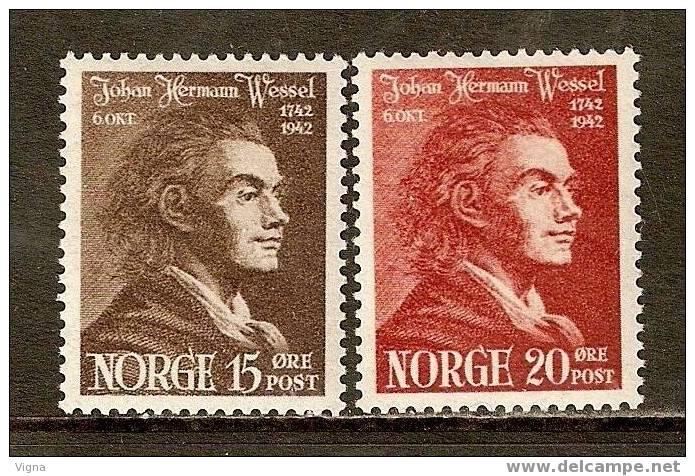 H0760 - NORVEGIA (1941) :  N. 242/243 ** Bicentenario Nascita Johan H. Wessel - Norvegia