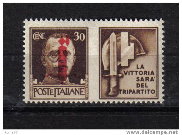 145 - R.S.I. , N. 32 Varietà : Piccola Falla Bianca Tra Il Mozzo E La Scure *** - 4. 1944-45 Repubblica Sociale