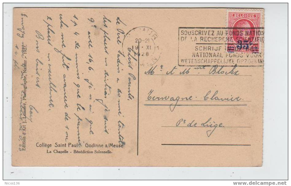 GODINNE S/MEUSE  COLLEGE St PAUL CHAPELLE (ecrite En 1928)     X447 - Yvoir