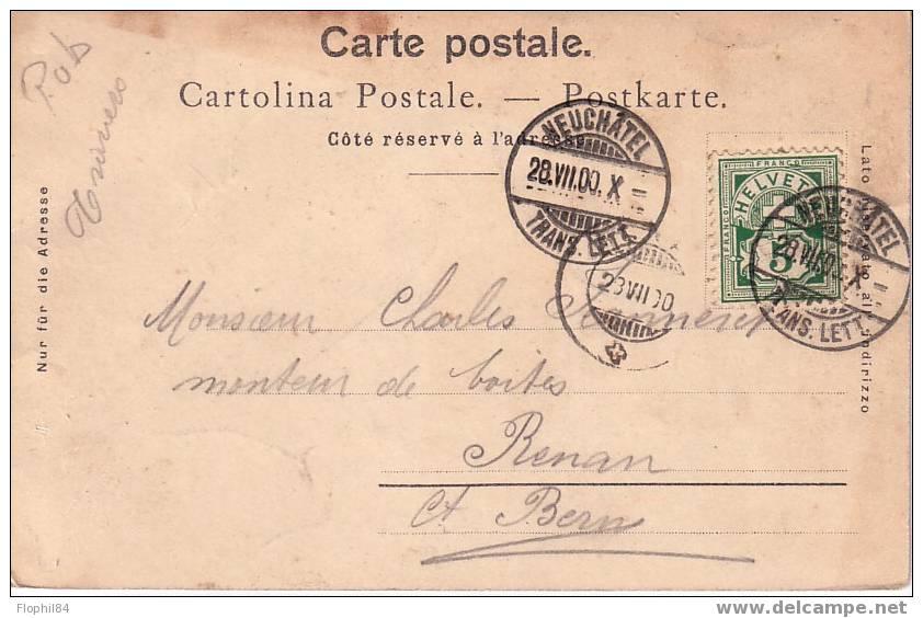 CARTE POSTALE DE SUISSE PUB CHOCOLAT SUCHARD EXPOSITION UNIVERSELLE; OBLITERATION NEUCHATEL DU 28-7-1900.  RARE - Covers & Documents