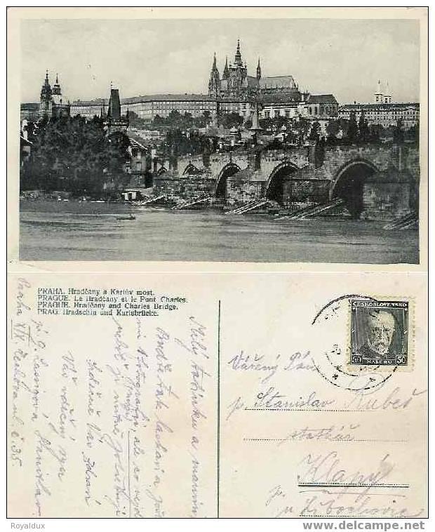 Prag Praha Hradcany Karluv Most Prag Hradschin Karlsbrücke 1923 - Tchéquie