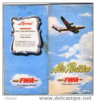 AIR ROUTE TWA  TRANS WORLD AIRLINE - Monde