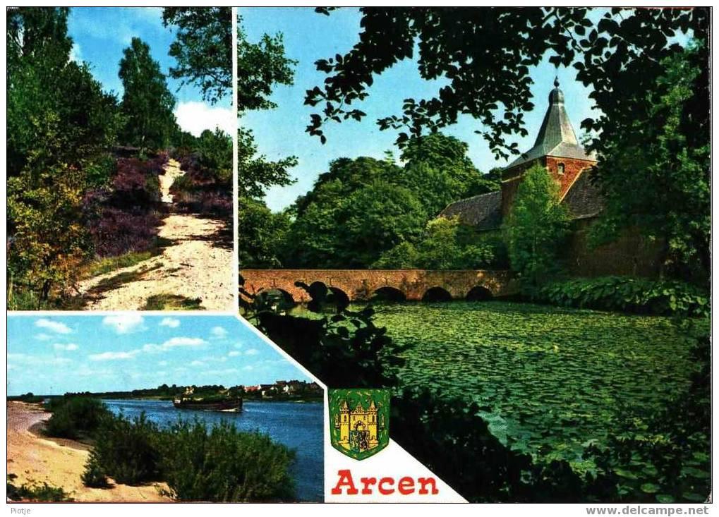 * Arcen (Limburg) * Bij Heerlen, Kerkrade, Maastricht, Heide, Vieux Pont Et église, Brug En Kerk, Canal Bateau, Boat - Nederland