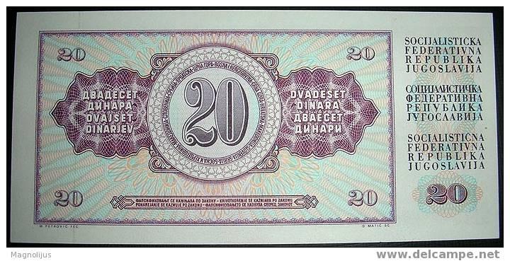 Yugoslavia,Bancnote,20 Dinars,1978.,Paper,Money - Yougoslavie