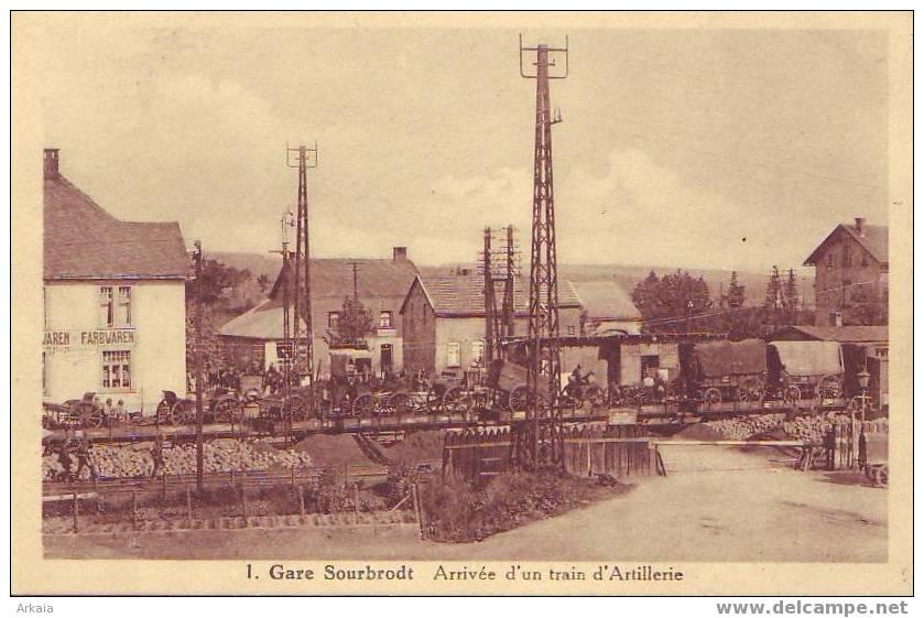 SOURBRODT = La Gare - Arrivée D'un Train D'artillerie  N° 1 - Belle Carte Animée  (1934) - Waimes - Weismes