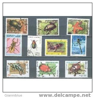 10 Different Stamps With Beetle Themes - Autres