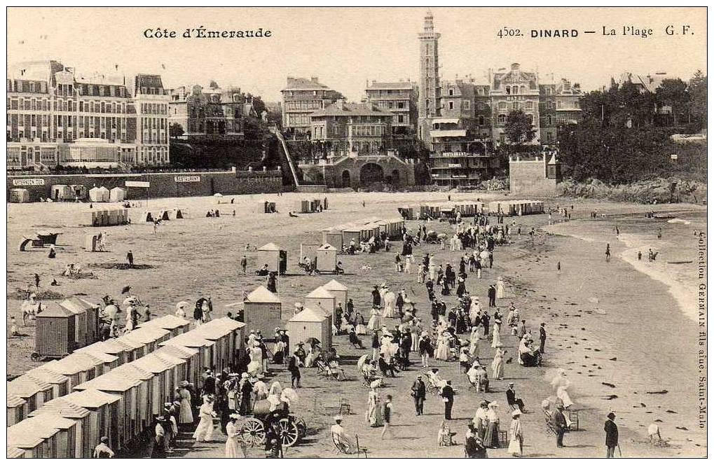 35 DINARD Plage, Cabines, Animée, Ed GF Germain 4502, Cote Emeraude, 190? - Dinard