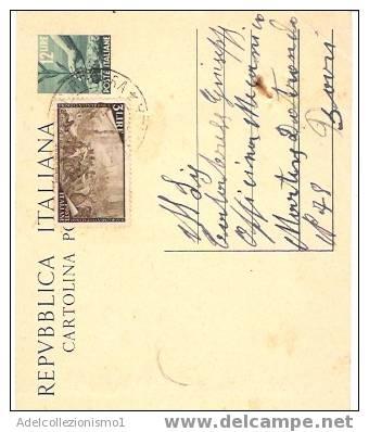 453)intero Postale Da 12 Lire Democratica+3 Lire Risorgimento Da Corletto Porticarra A Borri Il 18-5-1949 - 6. 1946-.. Repubblica
