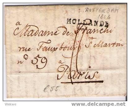 Nlc029 /- NIEDERLANDE -  Brief,  Rotterdam 1806 – Einzeiler Hollande Nach Paris - Niederlande