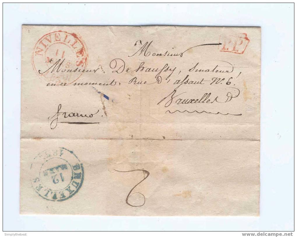 Lettre Préphilatélique NIVELLES PP 1837 Vers BRUXELLES - 2 Décimes Au Verso (sans Contenu)   --   EE634 - 1830-1849 (Belgique Indépendante)