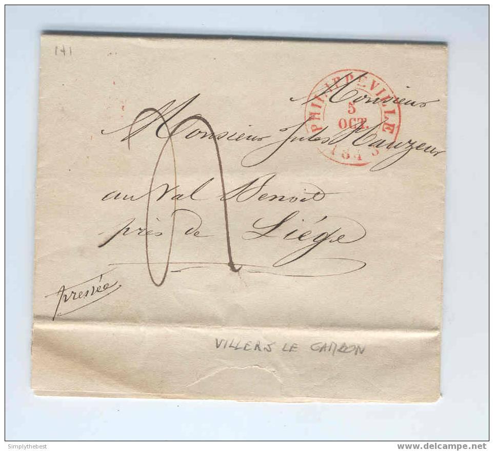 Lettre Préphilatélique PHILIPPEVILLE 1848 Vers LIEGE - Origine Manuscrite VILLERS LE GAMBON - Taxée 4 Décimes --   EE635 - 1830-1849 (Belgique Indépendante)