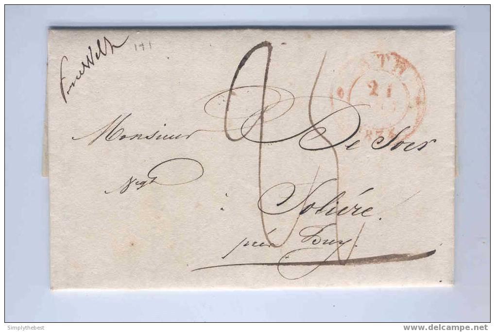 Lettre Préphilatélique ATH 1834 Vers HUY - Griffe Manuscrite D'Origine PERUWELZ  - Port 25 Cents   --   EE638 - 1830-1849 (Belgique Indépendante)