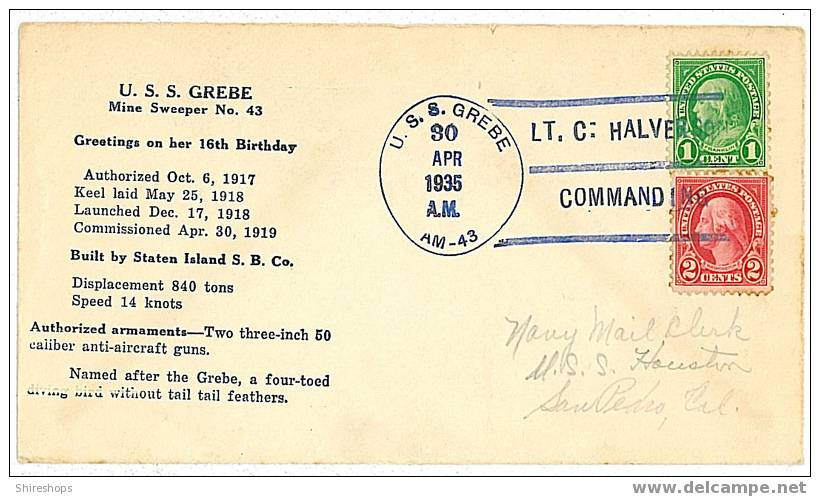 Cover U.S.S. Grebe Mine Sweeper 1935 16th Birthday - Omslagen Van Evenementen