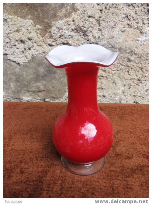 Vase Multicouche En Verre Rouge Blanc - Verre & Cristal