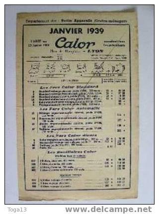 "LYON 1939, TARIF 4 PAGES PETITS APPAREILS ELECTRO-MENAGERS ""CALOR"" (3523) - Old Paper"