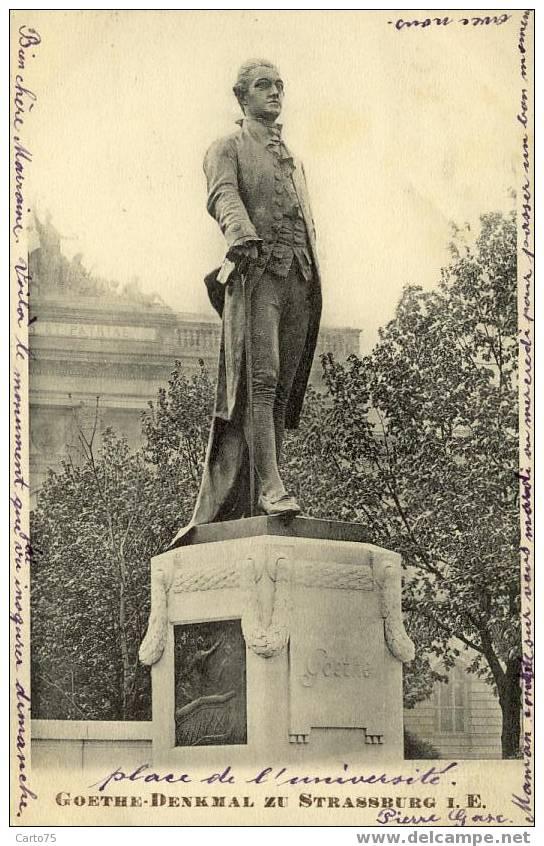 MONUMENT - Statue De Goethe à Strasbourg - Romancier Ecrivain Allemand - Monuments