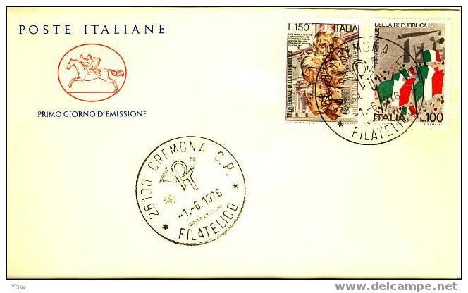 """ITALIA FDC """"CAVALLINO"""" 1976  XXX ANNIVERSARIO REPUBBLICA ITALIANA: BANDIERE E PRESIDENTI - Briefe"""